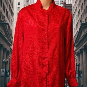 VINTAGE ANDRE SAUVAGE STUNNING RED BLOUSE